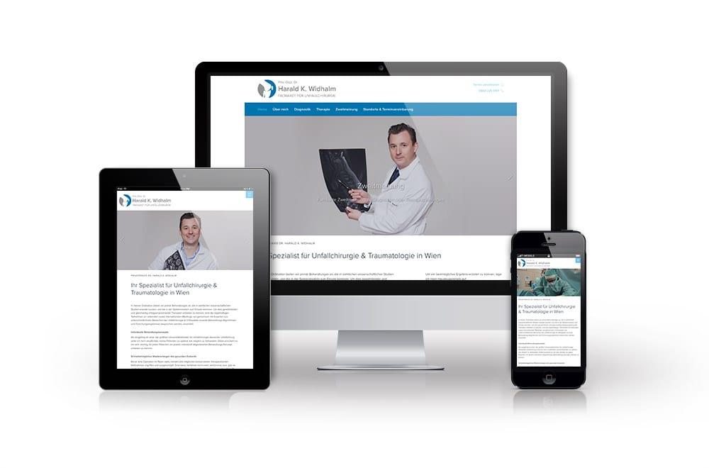 Webdesign Beispiel: Corporate Design, Responsive Webdesign für Facharzt-Ordination