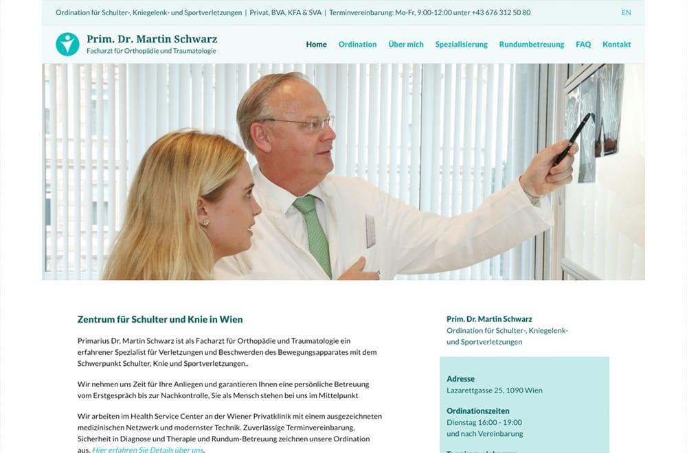 Webdesign Beispiel: Corporate Design, Responsive Webdesign für Arzt / Orthopäde