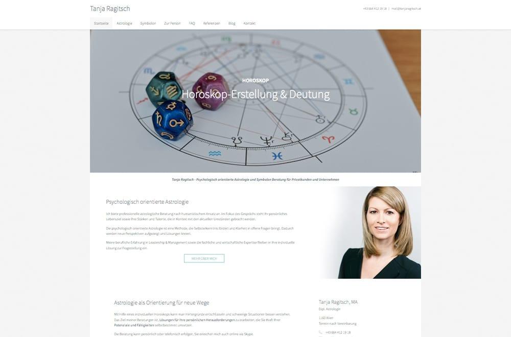 Webdesign Beispiel: Corporate Design, Responsive Webdesign, WordPress für Astrologie Wien