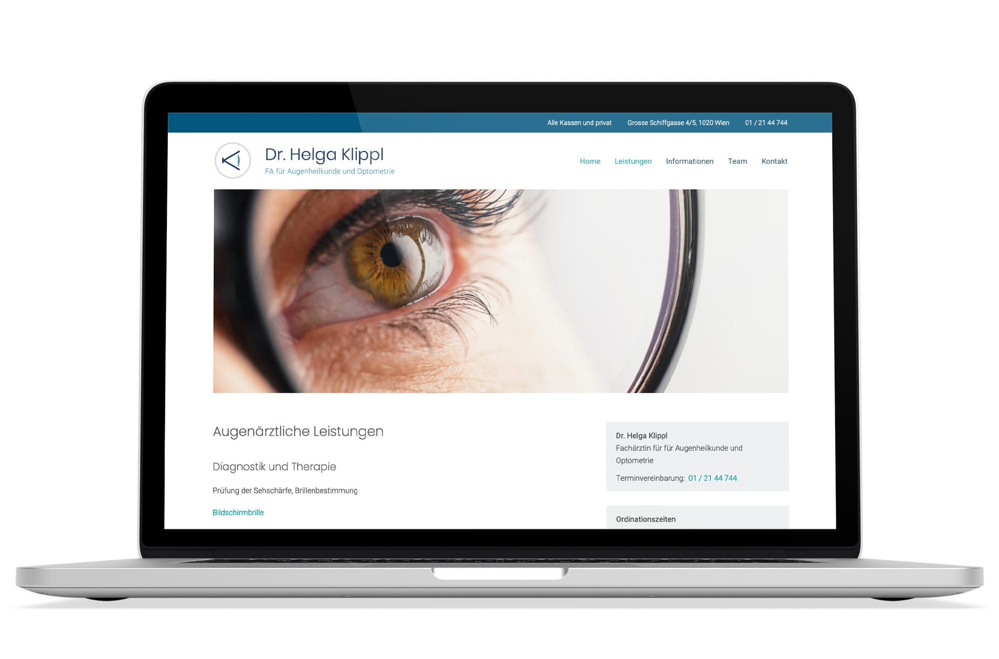 Webdesign Beispiel: Logodesign, Responsive Webdesign, WordPress für Augenarzt 1020 Wien