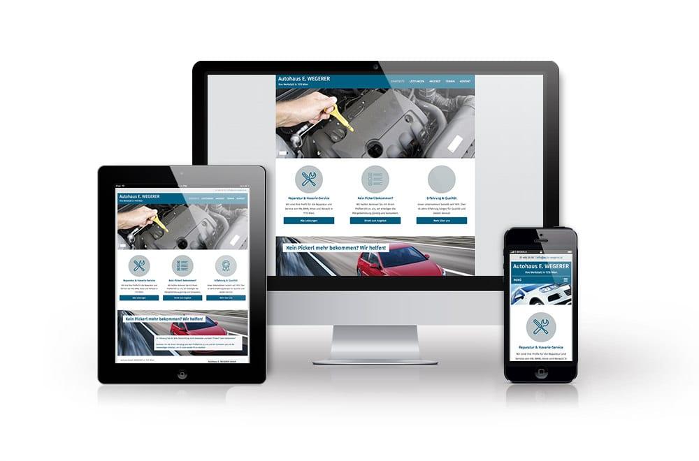 Webdesign Beispiel: Responsive Webdesign, WordPress für Autowerkstatt in Wien