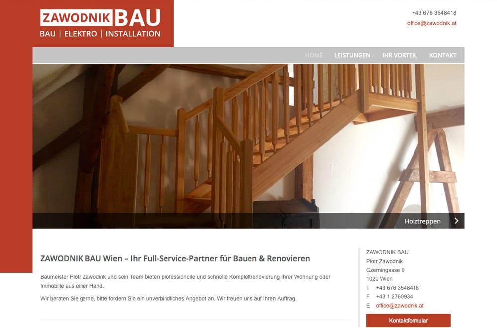 Webdesign Beispiel: Logodesign, Corporate Design, Responsive Webdesign, WordPress für Baufirma in Wien
