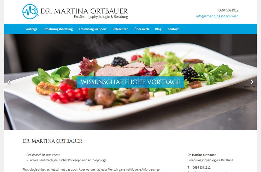 Webdesign Beispiel: Responsive Webdesign, WordPress für Ernährungsberatung und Sportcoaching