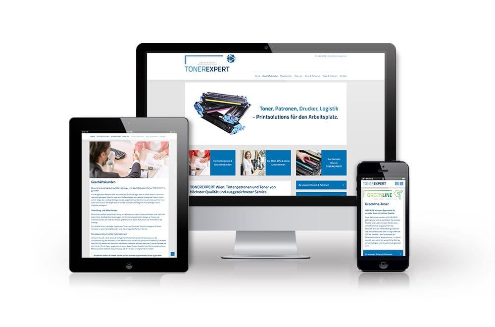 Webdesign Beispiel: Responsive Webdesign, WordPress für Tonerexpert