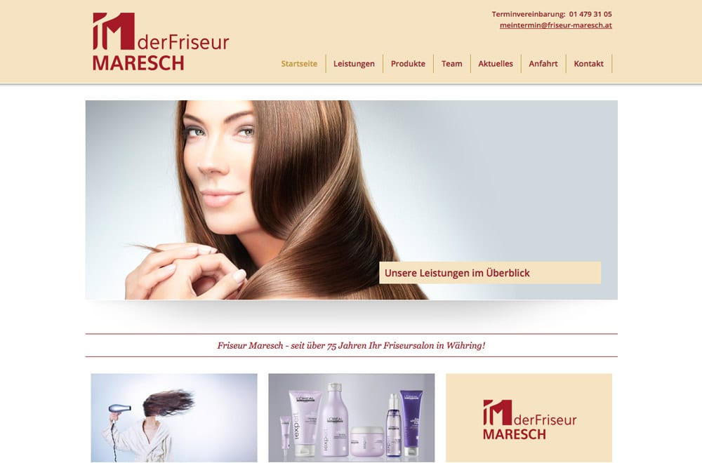 Webdesign Beispiel: Logodesign, Corporate Design, Responsive Webdesign, WordPress für Friseur in Wien