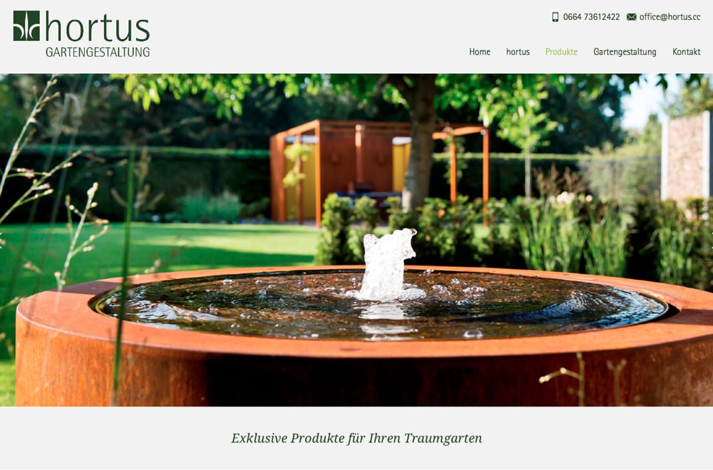Webdesign Beispiel: Responsive Webdesign, WordPress, Printdesign für Gartenarchitektur in Wien
