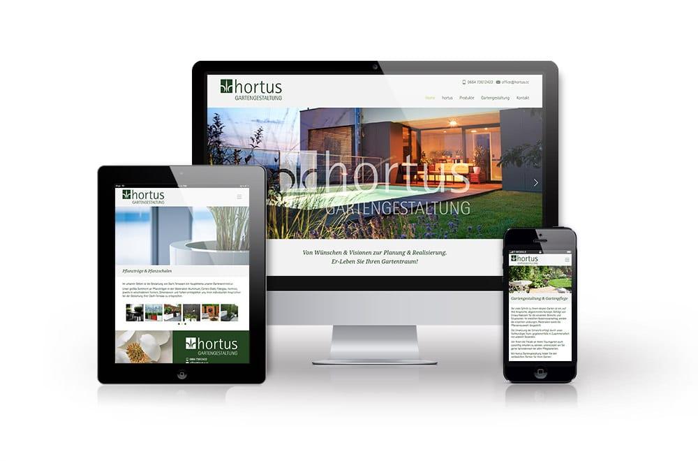 Webdesign Beispiel: Responsive Webdesign, WordPress, Printdesign für Gartengestaltung