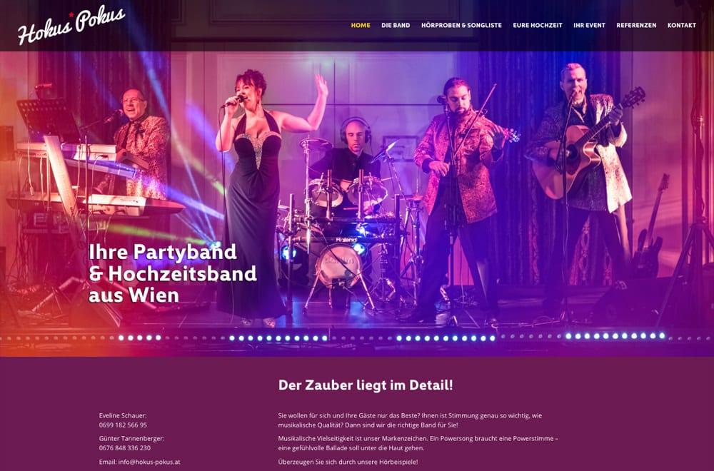 Webdesign Beispiel: Responsive Webdesign, WordPress für Party- und Hochzeitsband aus Wien