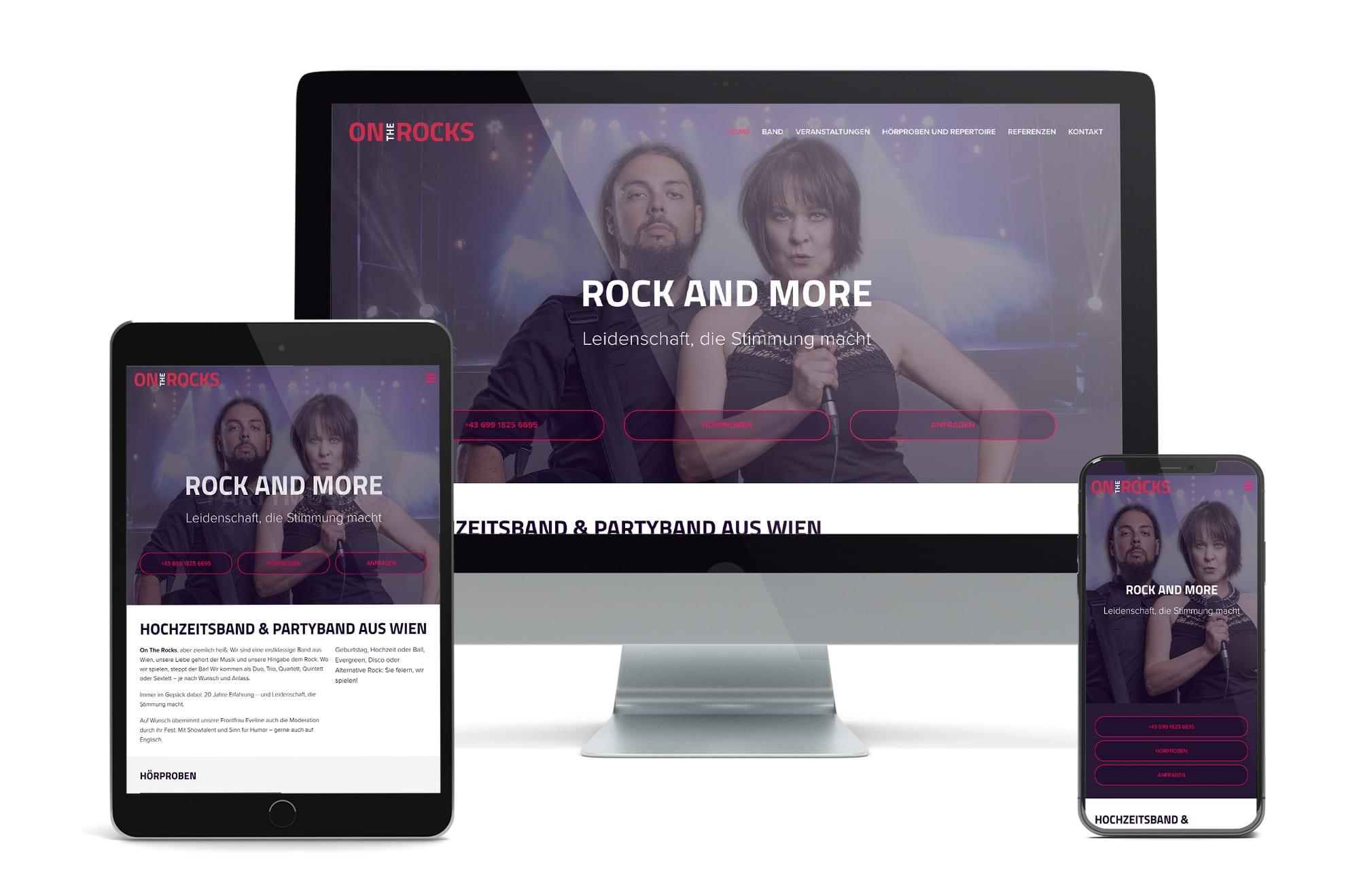 Webdesign Beispiel: Responsive Webdesign, WordPress für Hochzeitsband