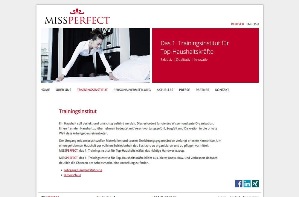 Webdesign Beispiel: Responsive Webdesign für Ausbildung / Training