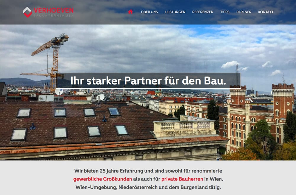 Webdesign Beispiel: Logodesign, Corporate Design, Responsive Webdesign, WordPress für Baufirma in Wien