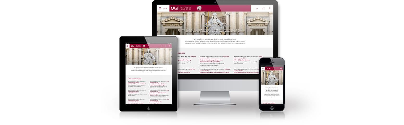 Homepage-Design für Gerichtshof