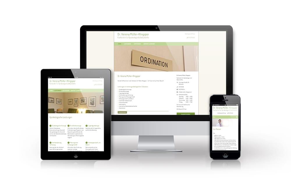 Webdesign Beispiel: Responsive Webdesign, WordPress für Frauenärztin