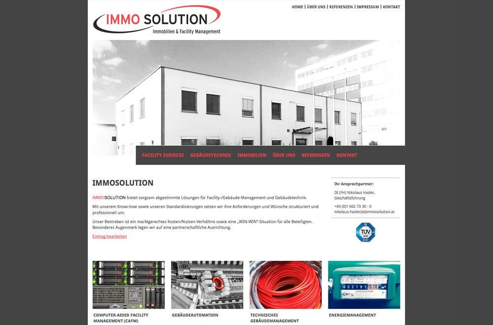 Webdesign Beispiel: WordPress, Webdesign für Immobilien / Facility Management