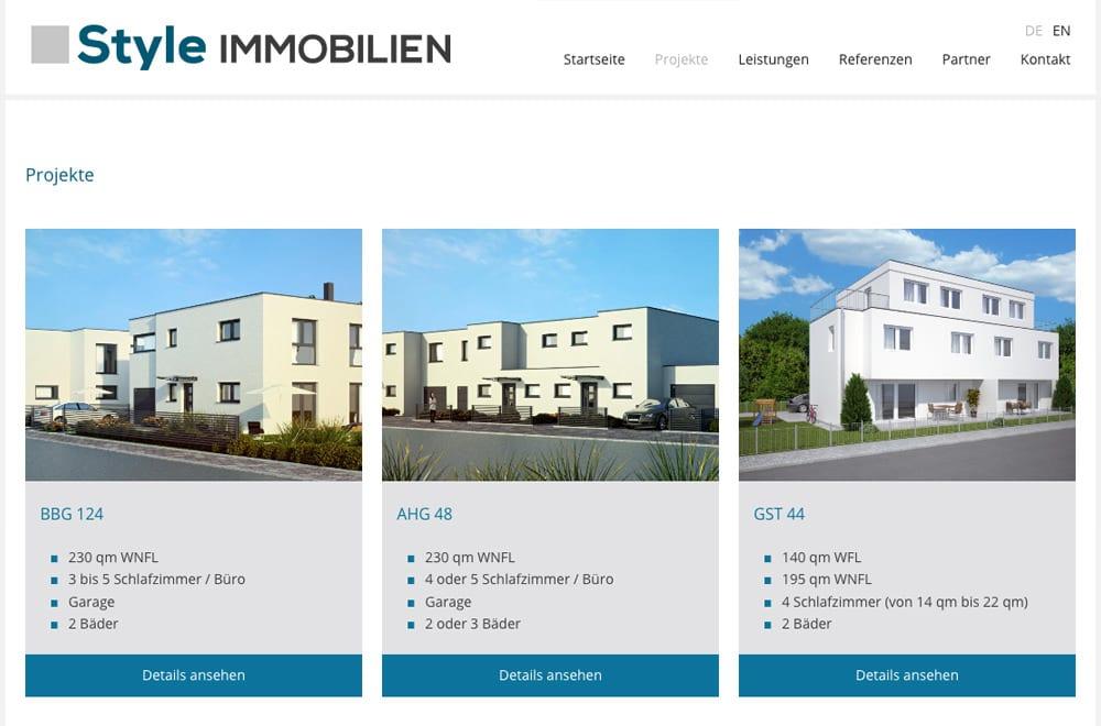 Webdesign Beispiel: Logodesign, Responsive Webdesign, WordPress für Immobilien & Bauträger
