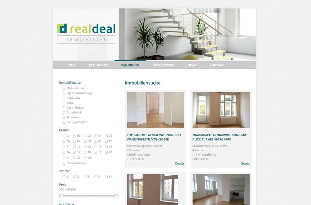 Webdesign Beispiel: Logodesign, WordPress, Webdesign für Immobilienmakler in Wien