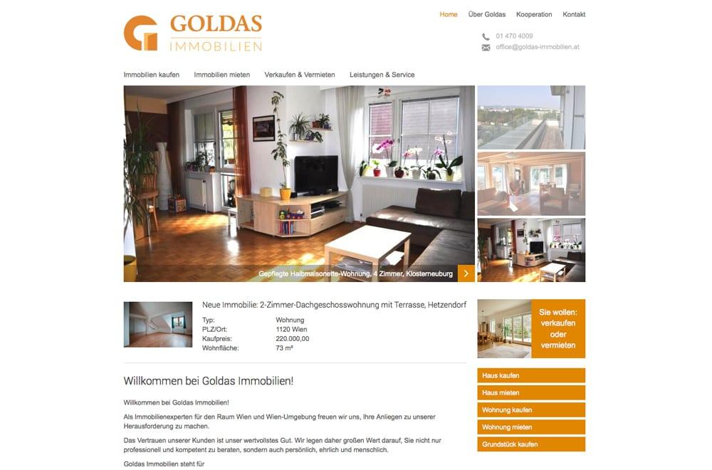 Webdesign Beispiel: Logodesign, Corporate Design, Responsive Webdesign, WordPress, Printdesign für Immobilien Makler in Wien