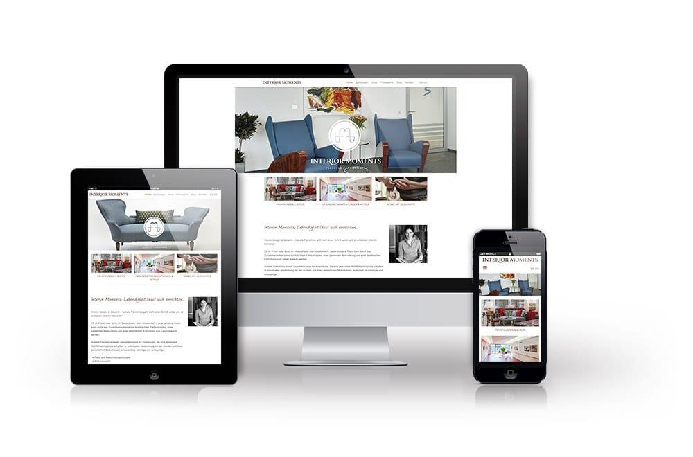 Webdesign Beispiel: Logodesign, Corporate Design, Responsive Webdesign, WordPress, Printdesign für Interior Moments