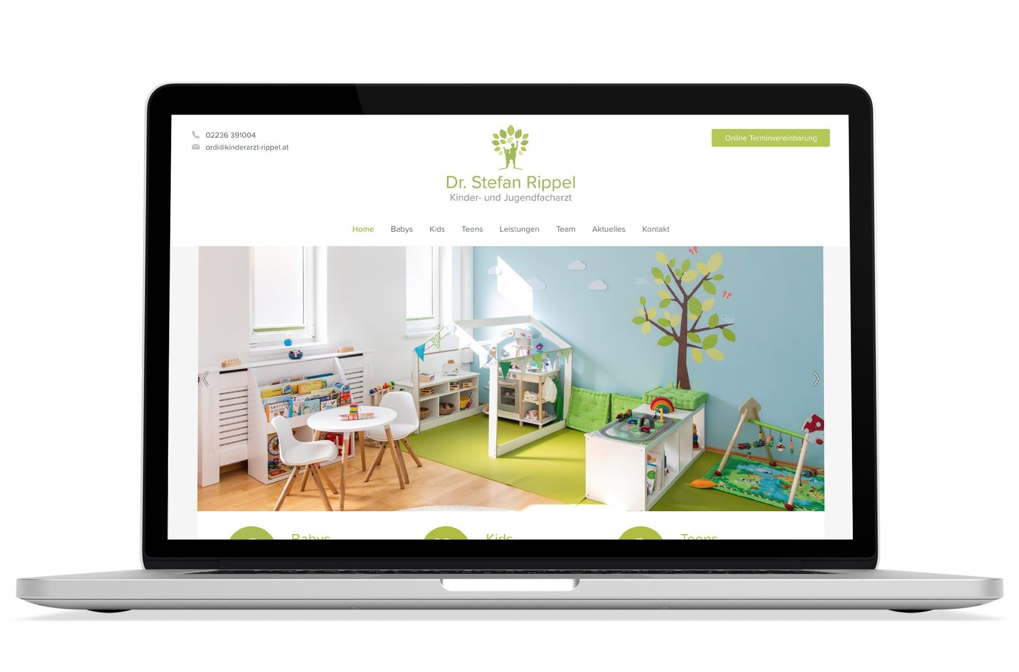 Webdesign Beispiel: Logodesign, WordPress, Webdesign für Kinderarzt Wien, Brunn am Gebirge