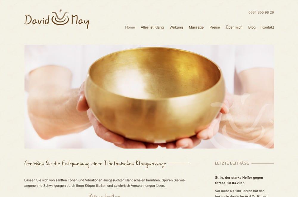 Webdesign Beispiel: Logodesign, Corporate Design, Responsive Webdesign, WordPress für Massage / Klangschalenmassage