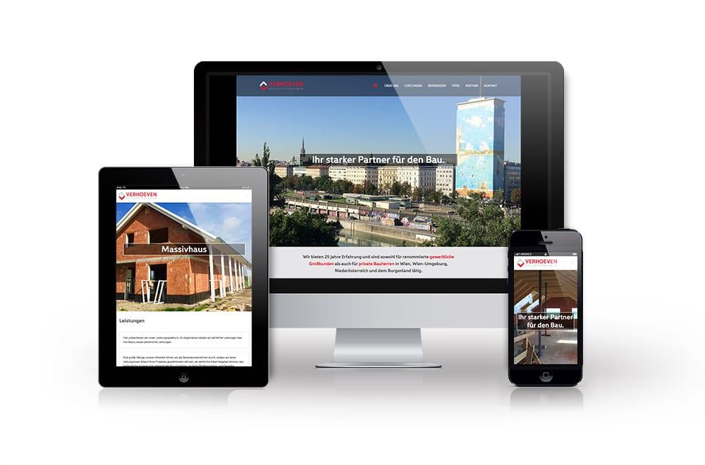 Webdesign Beispiel: Logodesign, Corporate Design, Responsive Webdesign, WordPress für Baufirma