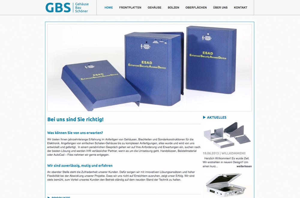 Webdesign Beispiel: Webdesign für Gehäusebau / Industrie