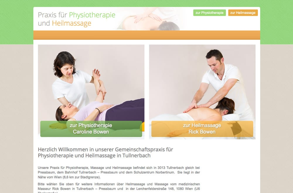 Webdesign Beispiel: Responsive Webdesign, WordPress für Massage / Physiotherapie