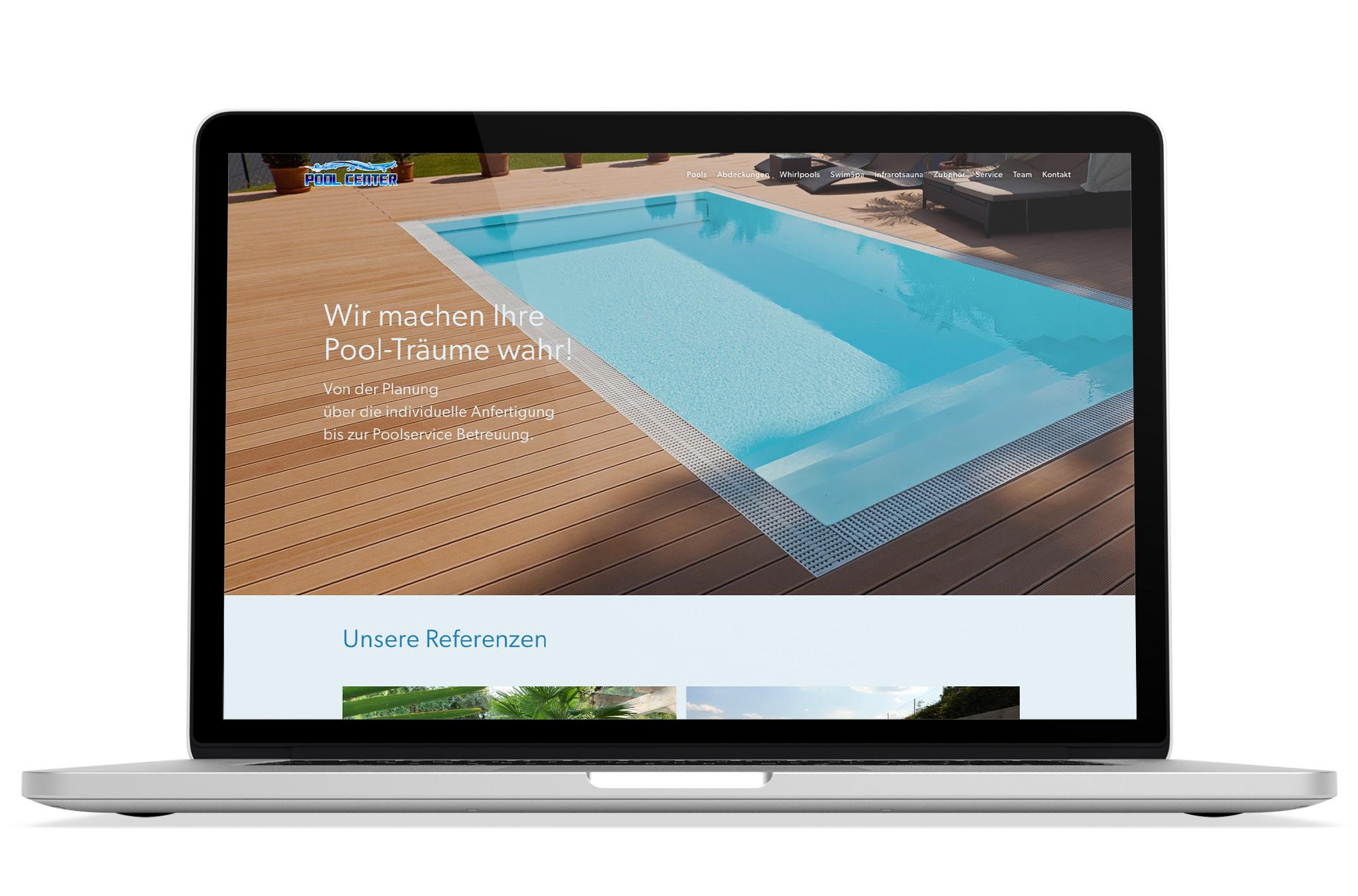 Webdesign Beispiel: Responsive Webdesign, WordPress für Pool Center