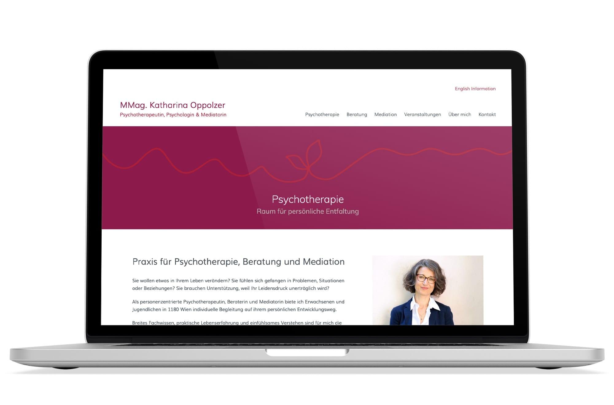 Webdesign Beispiel: Logodesign, Responsive Webdesign, WordPress für Psychotherapeutin Wien