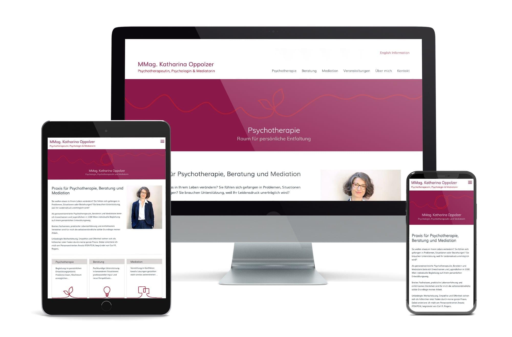 Webdesign Beispiel: Neue Website für Psychotherapeutin Wien