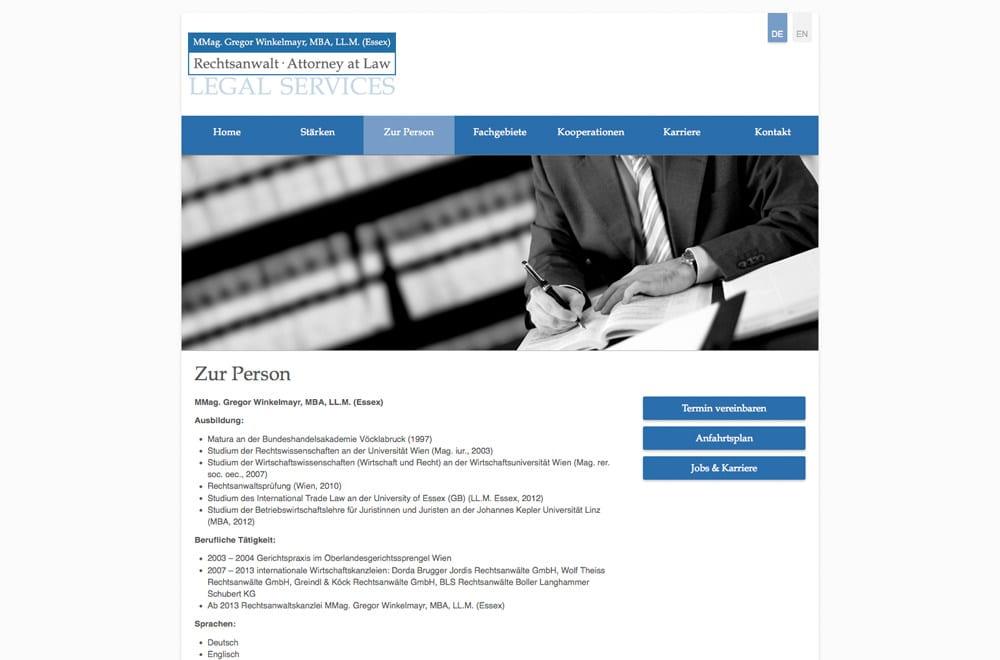 Responsive Webdesign Beispiel: Neue mobile Webseite für Rechtsanwalt Wien