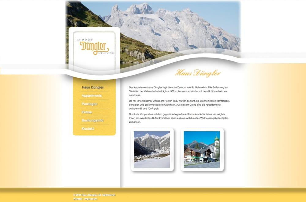 Webdesign Beispiel: Webdesign für Appartment / Pension / Hotel