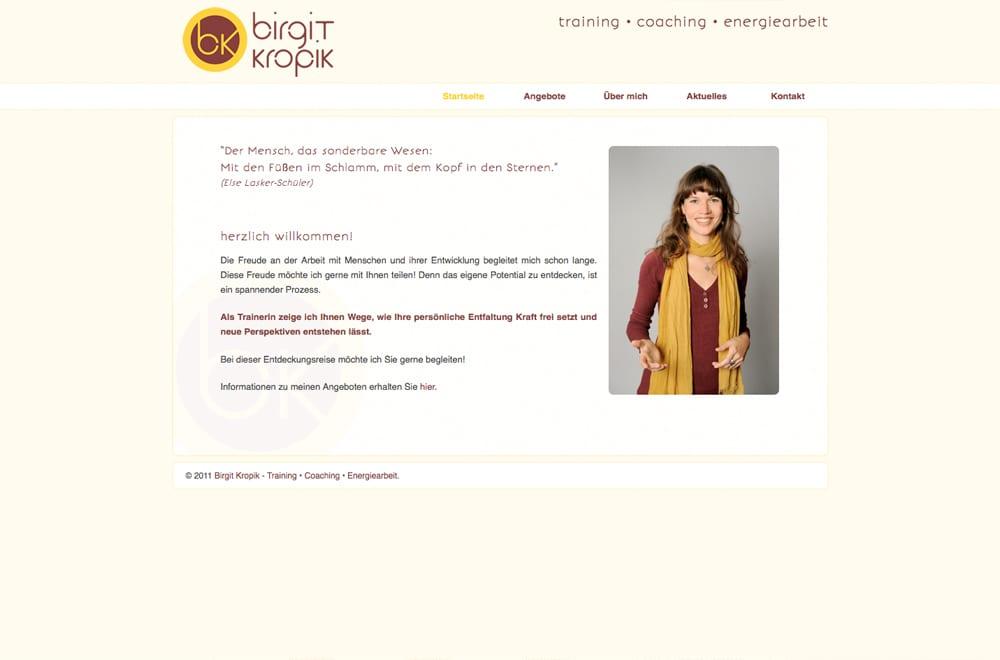 Webdesign Beispiel: Webdesign für Coaching / Training / Beratung