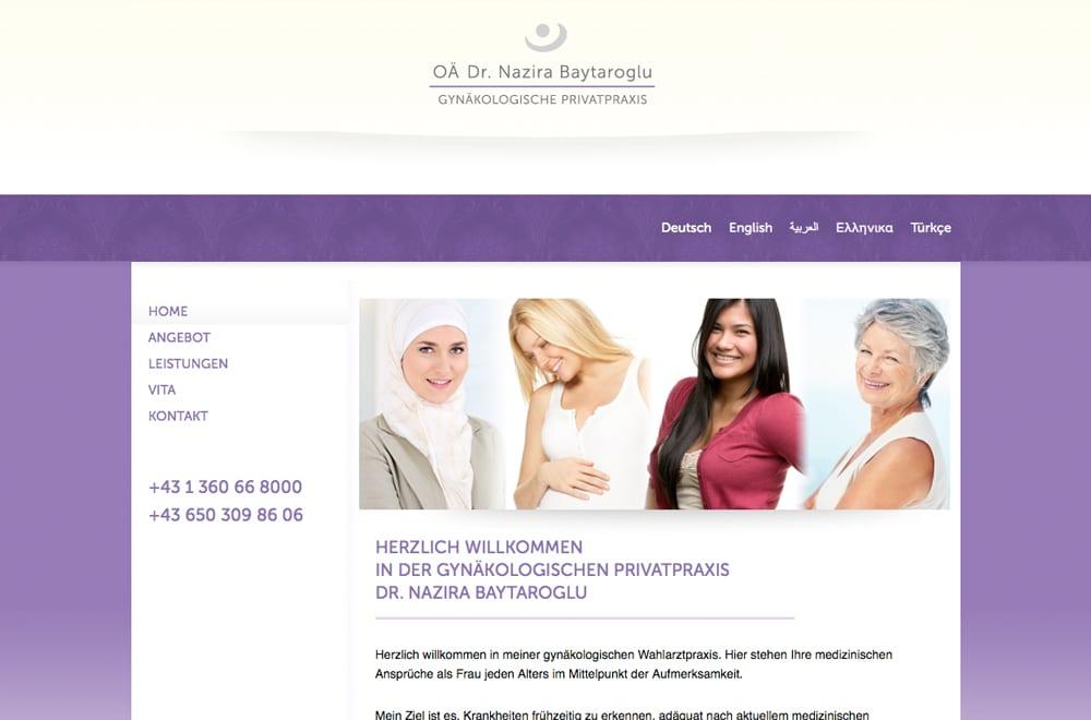 Webdesign Beispiel: Webdesign für Arzt / Gynäkologin in Wien