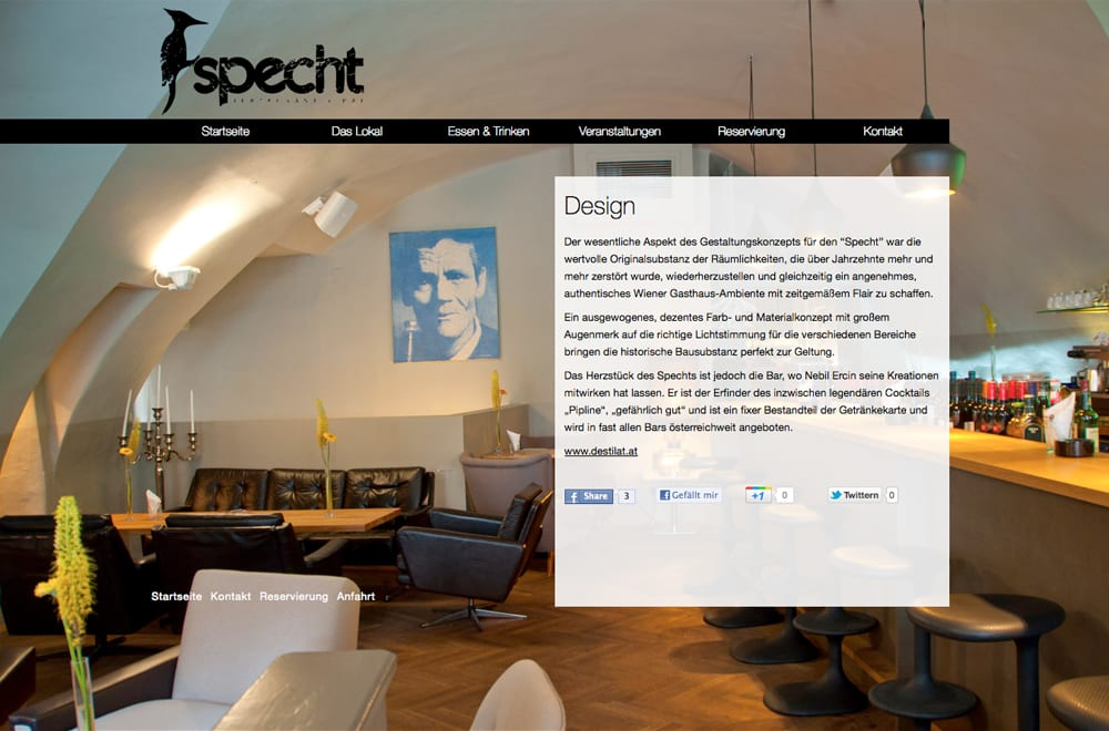 Webdesign Beispiel: Webdesign für Gastronomie / Restaurant