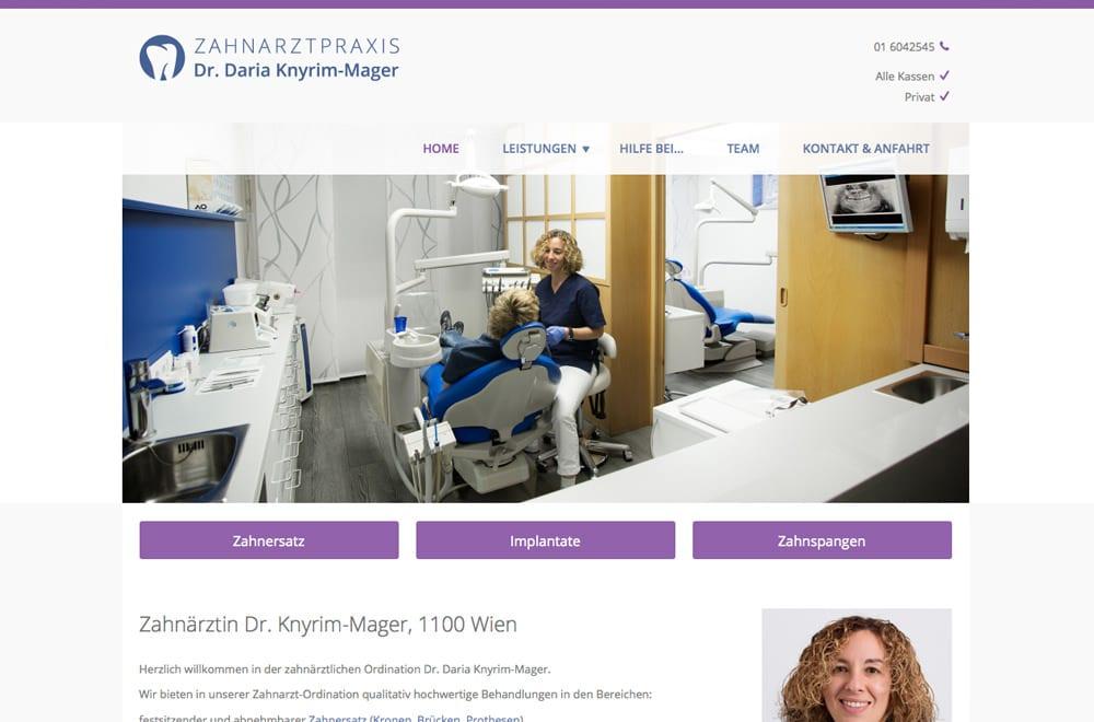 Webdesign Beispiel: Logodesign, Corporate Design, Responsive Webdesign, WordPress für Zahnarzt in Wien