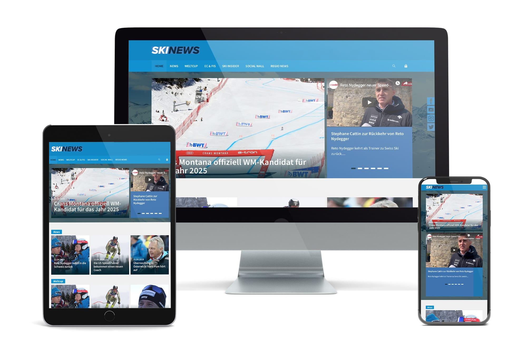 Webdesign Beispiel: Neue Website für Ski News Portal