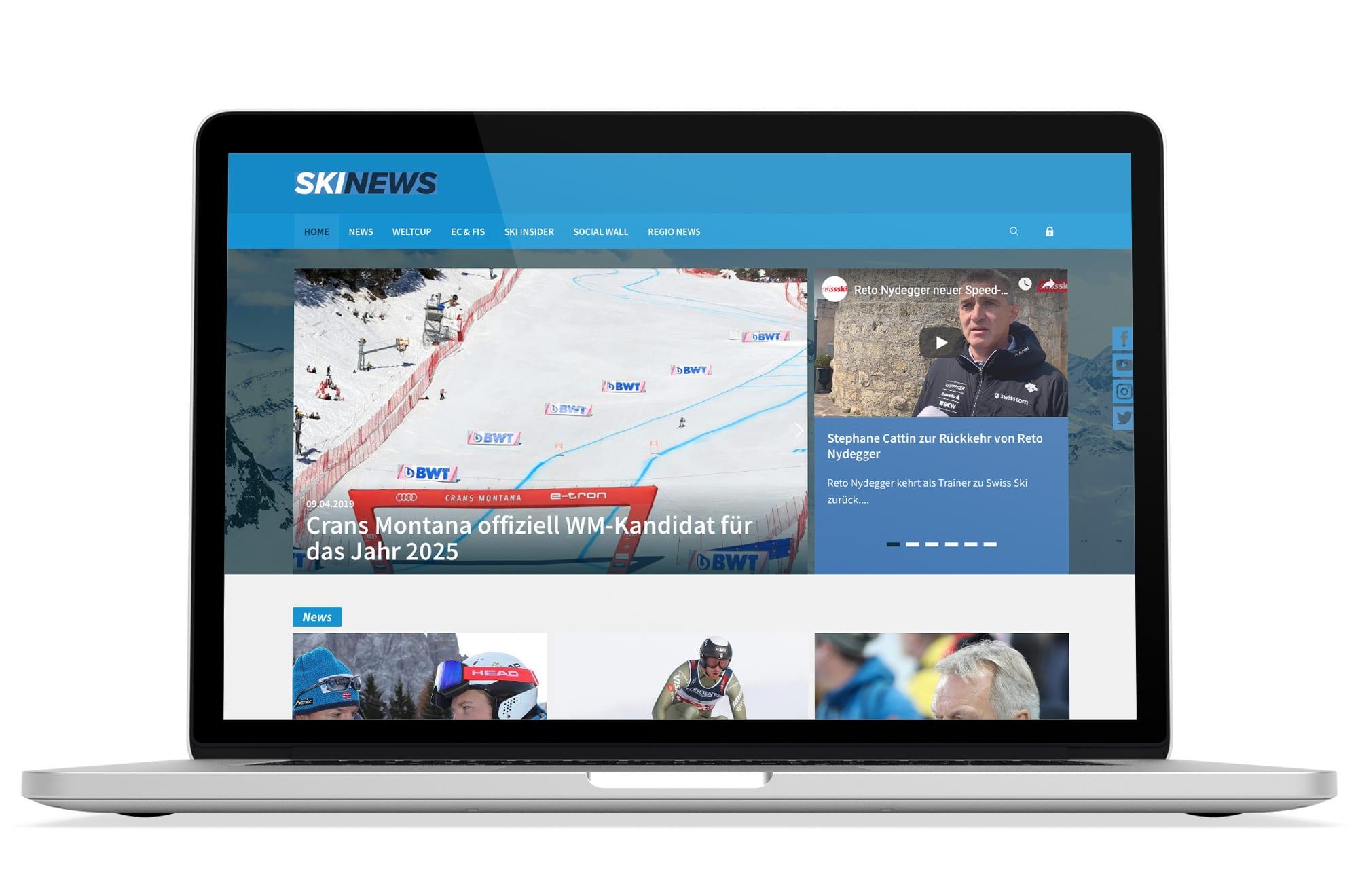 Webdesign Beispiel: Logodesign, Responsive Webdesign, WordPress für Ski News Portal