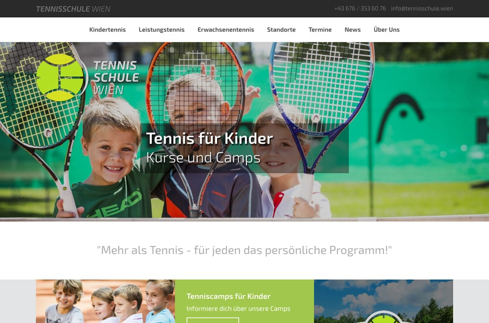 Webdesign Beispiel: Logodesign, Responsive Webdesign, WordPress für Tennisschule in Wien