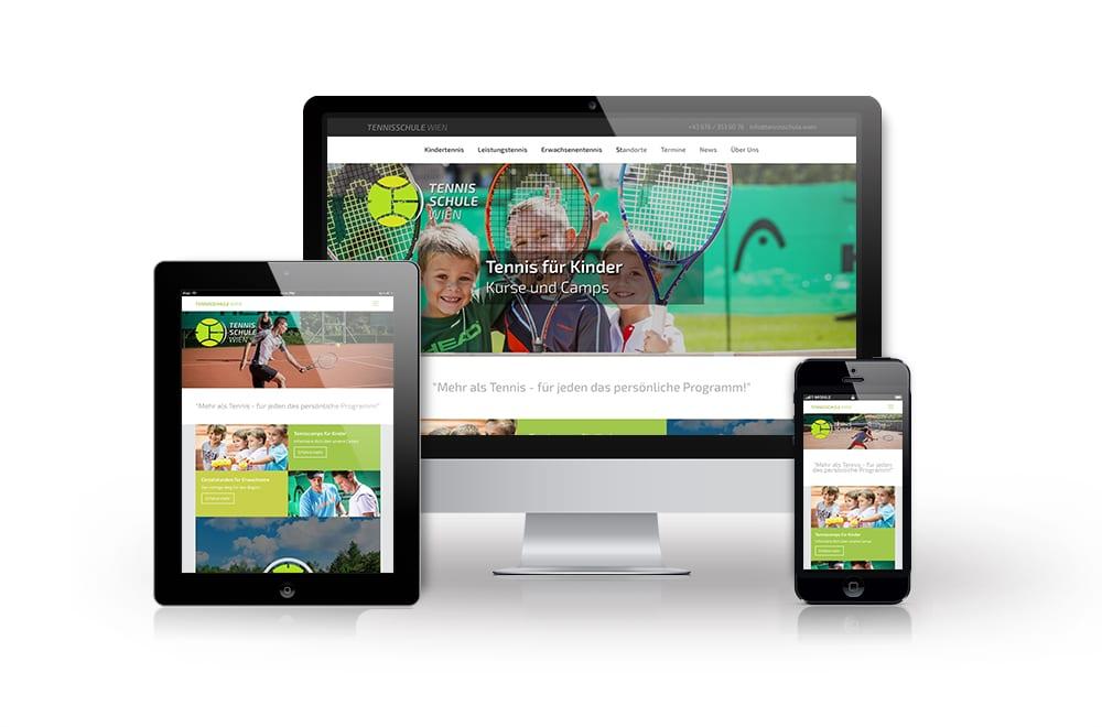 Webdesign Beispiel: Neue Website für Tennisschule in Wien