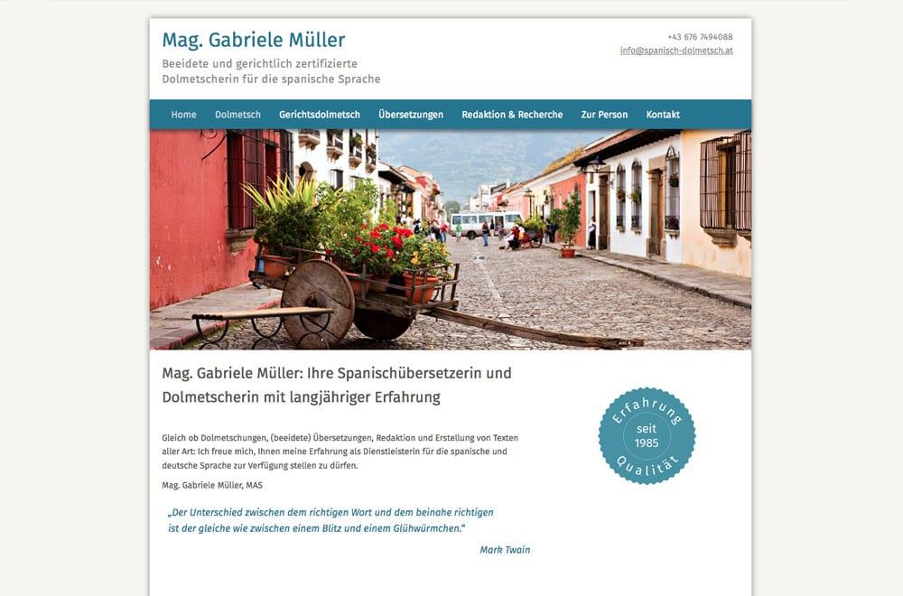 Webdesign Beispiel: Responsive Webdesign, WordPress für Übersetzerin, Dolmetsch