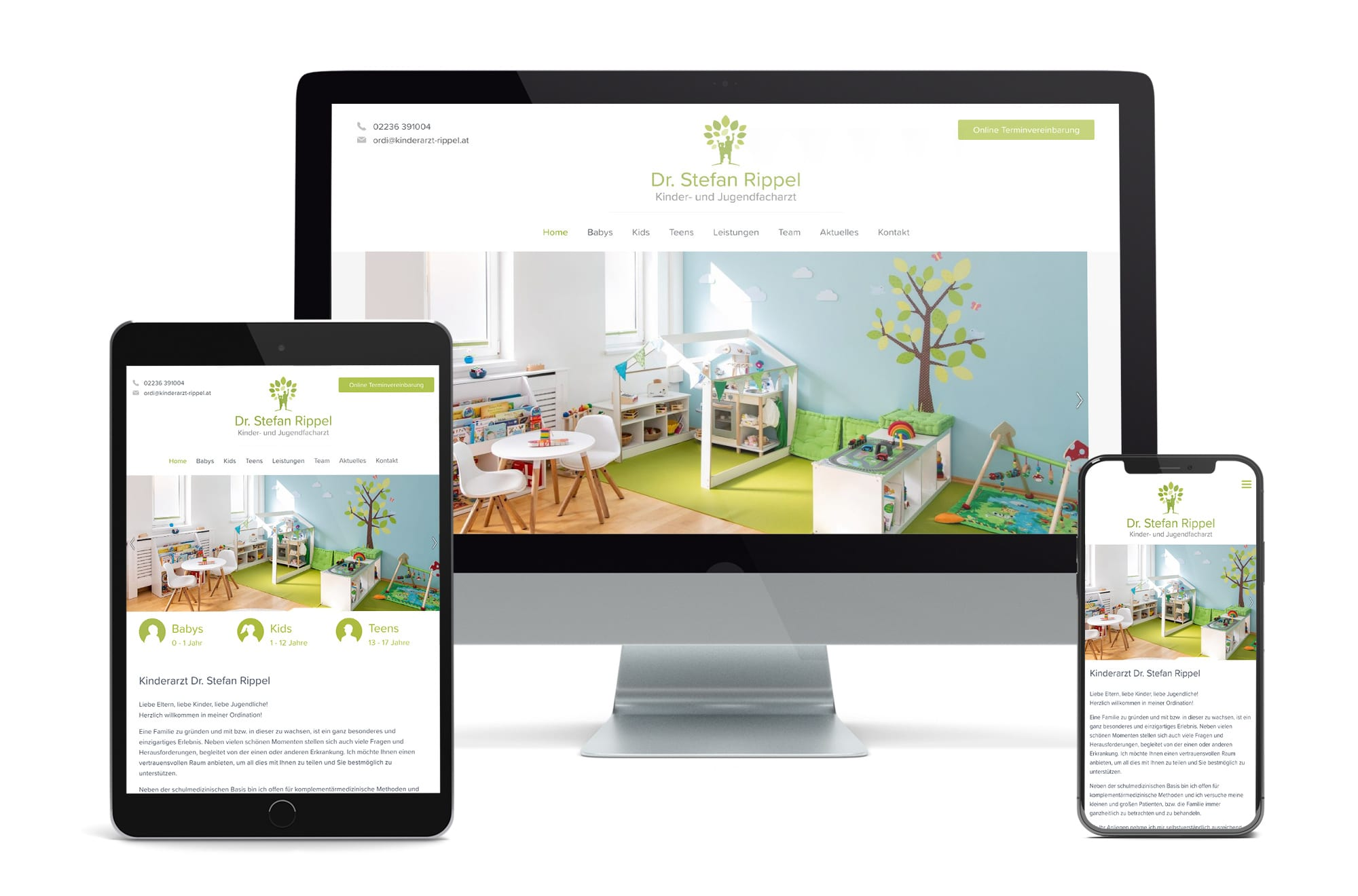 Webdesign Beispiel: Neue Website für Kinderarzt Wien, Brunn am Gebirge