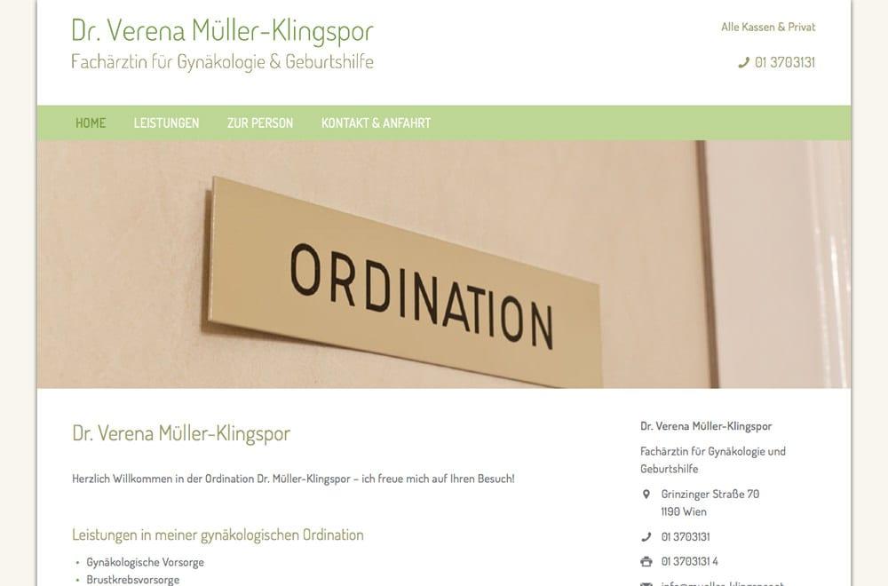 Webdesign Beispiel: Responsive Webdesign, WordPress für Frauenärztin / Gynäkologin in Wien