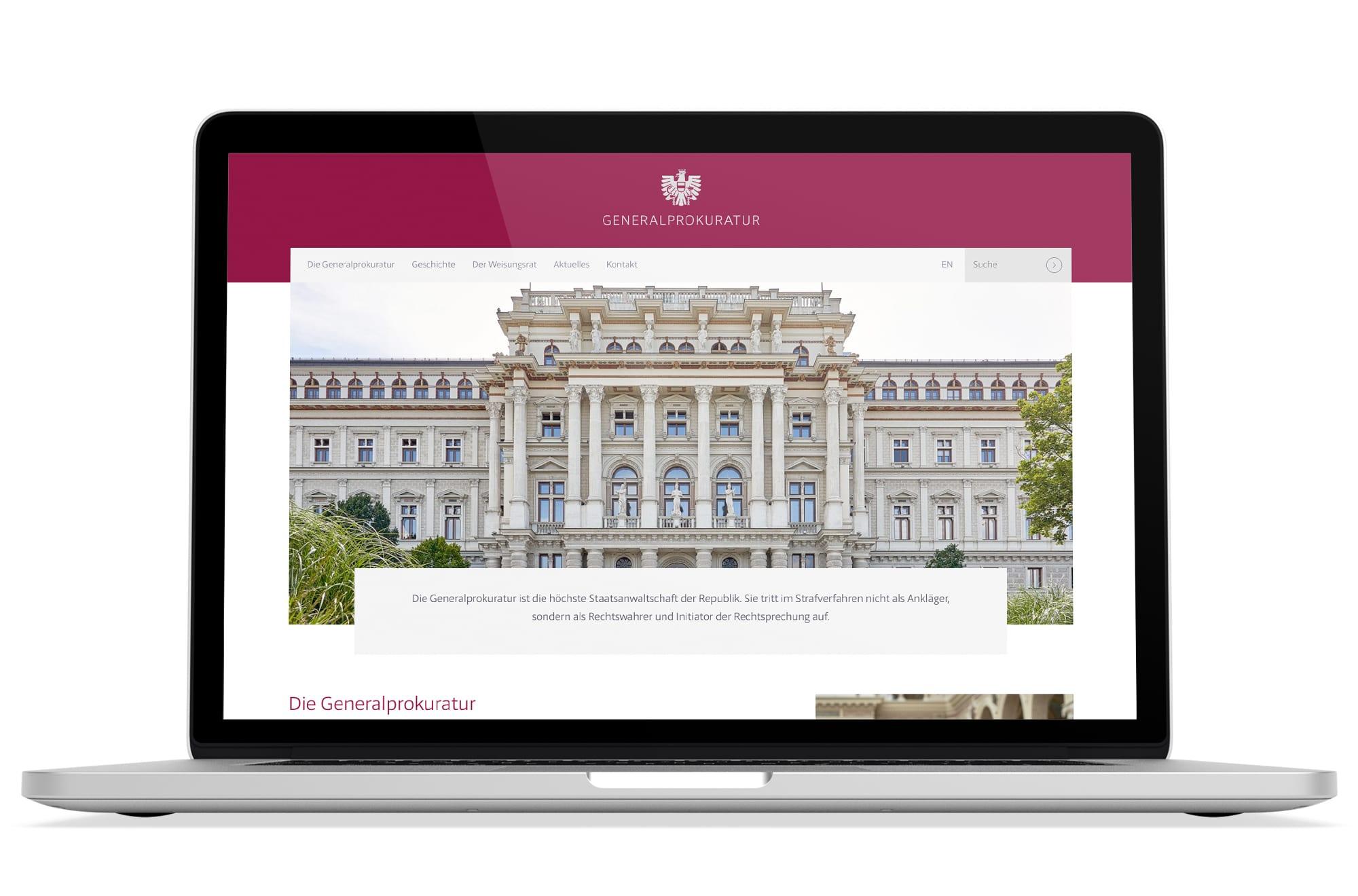 Webdesign Beispiel: Logodesign, Responsive Webdesign für Gerichtshof