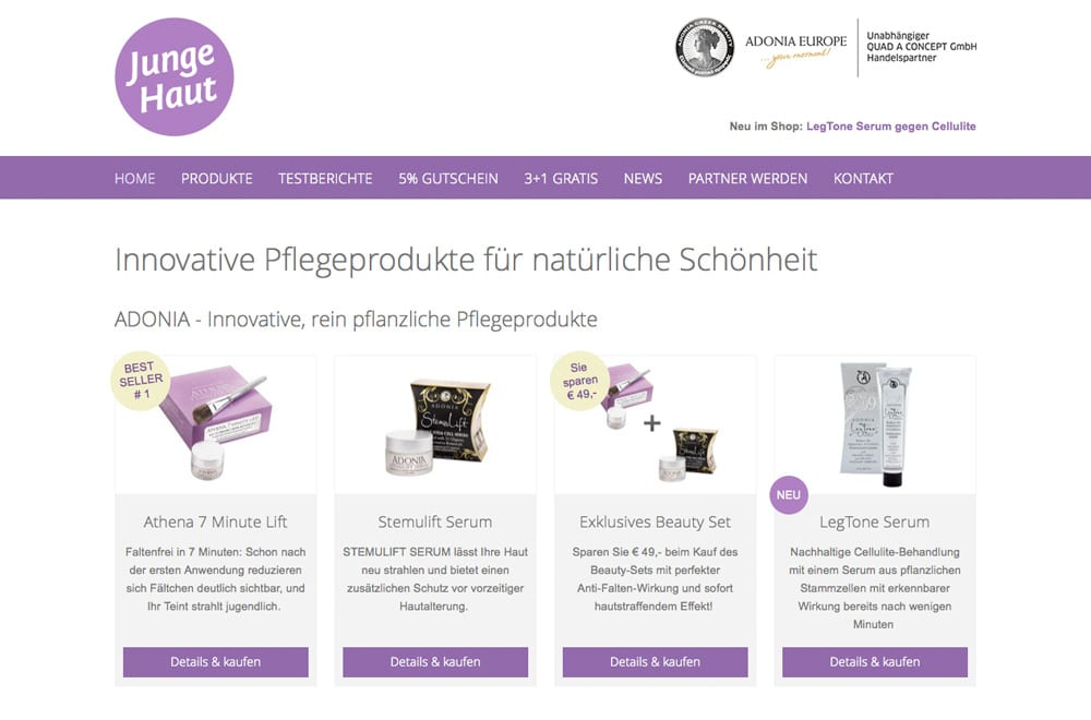Webdesign Beispiel: Responsive Webdesign, WordPress, SEO für Handel/Verkauf