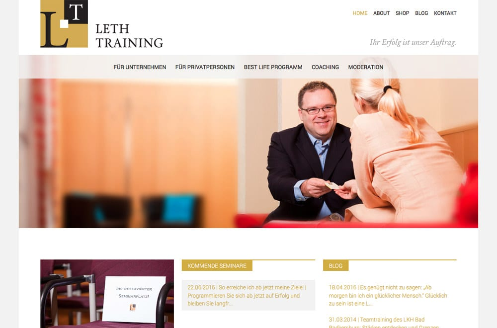 Webdesign Beispiel: Responsive Webdesign, WordPress für Seminare, Training & Coaching