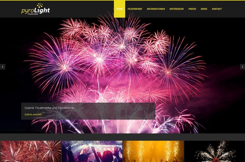 Webdesign Beispiel: Corporate Design, Responsive Webdesign, WordPress, SEO für Feuerwerke (Hochzeitsfeuerwerke)