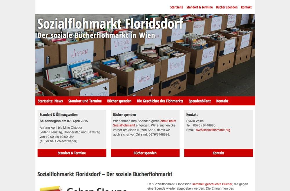 Webdesign Beispiel: Responsive Webdesign, WordPress, SEO für Sozialer Bücherflohmarkt in Wien
