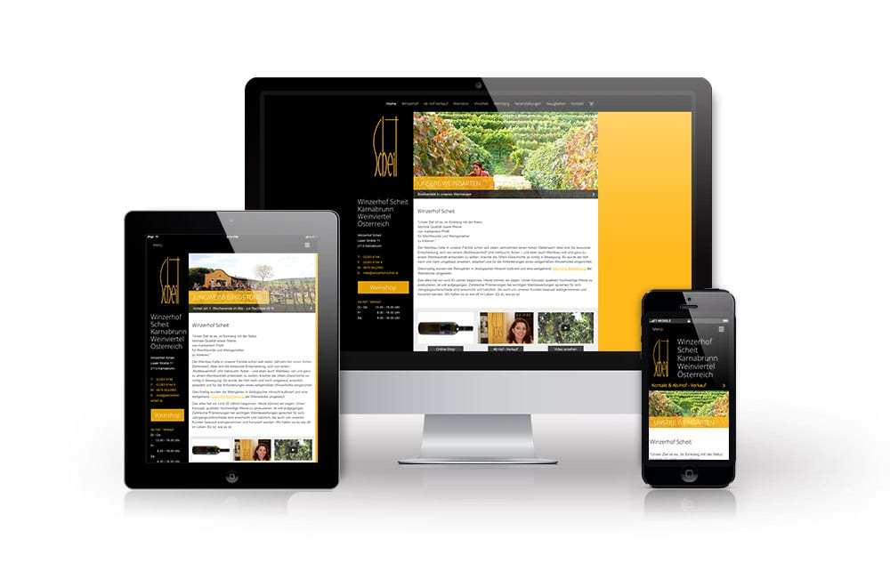 Webdesign Beispiel: Responsive Webdesign, WordPress, Onlineshop für Winzerhof