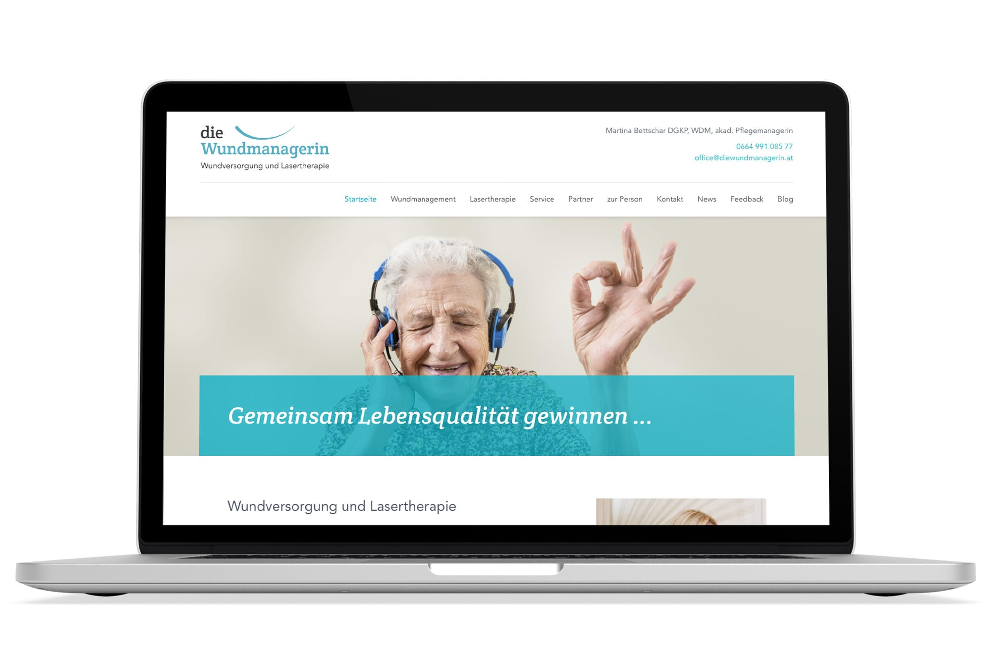 Webdesign Beispiel: Logodesign, Responsive Webdesign, WordPress für Wundmanagement Wien